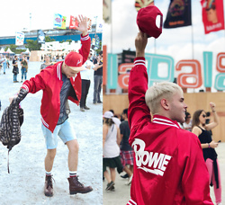 Richarles Rodrigues - Forever 21 Bowie Jacket - L O L L A Vibes Red&Love