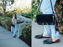 Taylor Smith - Zaful Top, Topshop Jeans, Chloé Chloe Faye Bag, Gucci Loafers - Dusty Rose Off the Shoulder