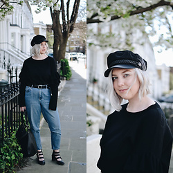 Elizabeth Claire - H&M Fisherman's Hat, H&M Ruffle Sleeve Jumper, Topshop Mom Jeans, Matty's Buckle Boots, Asos Circle Clasp Belt - Blossom