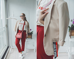 Olga Choi - Styled Moscow Logo T Shirt, Styled Moscow Pants, Styled Moscow Sneakers, Rebecca Minkoff Bag - Logo t-shirts