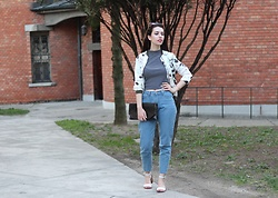 Jelena - H&M Striped Top, Gamiss Frolar Bomber, Love Of Queen Mom Jeans, Zara White Sandals - Florals X stripes