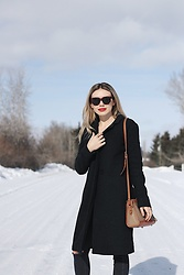 Alexa Jade Warren - Aritzia Coat, Dooney & Bourke Bag, Topshop Black Ripped Jeans, Celine Sunglasses - Ruby Woo
