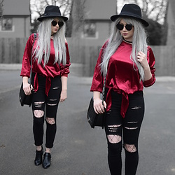 Sammi Jackson - Zaful Sunglasses, Tosave Velvet Top, Choies Ripped Jeans, Choies Fishnets, Oasap Quilted Bag, Wholesale 7 Buckled Boots - RED VELVET + ZAFUL EASTER CONTEST