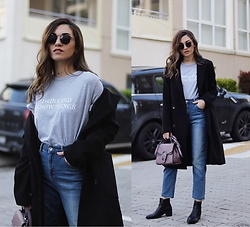 Melike Gül - Zaful T Shirt, Zaful Coat, Jollychic Bag, Addax Jeans, Zerouv Sunglasses, Romwe Boots - I Drink and I Know Things