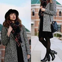 Mackenzie S - Old Navy Everyday Coat, Coach Station Bag, Bullboxer Heeled Chelsea Boots, Eshakti Fit And Flare Dress, Forever 21 Plaid Blanket Scarf, Urban Outfitters Black Wool Hat - Do a Little Twirl