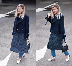 Jules V - &Other Stories Woolen Jacket, H&M Dress, H&M Jeans, Zara Heels, Cuyana Monogrammed Bag - Denim & Dots (& layers)