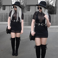 Sammi Jackson - Zaful Sunglasses, My Depop Sheer Mesh Dress, Asos Plunge Swimsuit, Asos Buckled Belt, Oasap Quilted Bag, Boohoo Over The Knee Boots - BLACK MESH DRESS