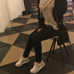 Manar Fab - Shein Black Jeans, Adidas Sneakers, Missguided Sweater, Veronna Collection Hijab Scarve - Casual Day