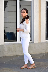 Melissa De Leon - Kendra Scott Drop Earrings, Anthropologie White Blouse, Ag Jeans White, Forever 21 Nude Sandals - White Out