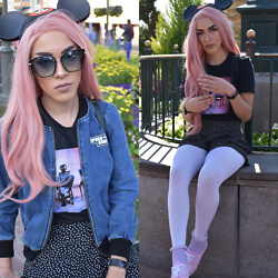 Alexis Boldt - American Apparel Denim Bomber, Forever 21 Pastel Frill Socks - Disneyland Day Two