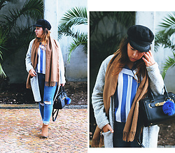 Mafalda M. - Zara A Line Jacket, Trendsgal Striped Shirt, Topshop Jamie Ripped Jeans, Primark Camel Boots - JAMIE JEANS AND PALM TREES