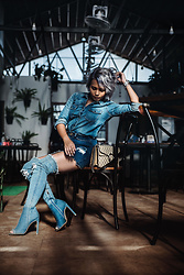 Nilu Yuleena Thapa - Gap Denim Shirt, Gucci Dionysus, Lasula Boutique Thigh High Denim Boots - Triple Denim