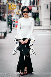 Tina Lee - Storets Flowy Top, Forever 21 Flared Pants, Valentino Rockstud Slingbacks, Parisa Nyc Hooked Lady Bag - Flared Everything