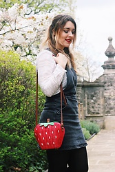Daisy A - Topshop Straw Strawberry Bag, Asos Black Dungaree Pinafore Dress, New Look White Frilly Broderie Anglaise Shirt - Blossom and A Strawberry Bag
