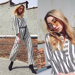 Ana Prodanovich - H&M Striped Top, H&M Striped Bottoms, Gentle Monster Aviators - Stripes on Stripes