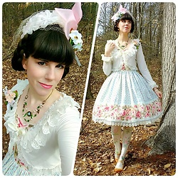 Tyler H - Ebay Vintage Hat, Lotvdesigns Bird Corsage, Lotvdesigns Pink Organza Bow, Lotvdesigns Bird's Nest Necklace, Lotvdesigns Lily Of The Valley Corsage, Handmade Lace Trimmed Bolero, Lotvdesigns Rose Jsk, Aliexpress Rose Tights, Miz Mooz Caramel Heels - Sweet Rose