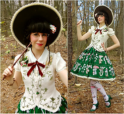Tyler H - Lotvdesigns Mushroom Jsk, Thifted Cream Peterpan Blouse, Thrifted Vine Knit Vest, Lotvdesigns Mushroom Tights, Miz Mooz Green Heels, Handmade Mushroom Witch Hat, Mossbadger Rabbit Cloche Necklace, Vintage Mushroom Brooch, Sarah Coventry H Initial Brooch, Lotvdesigns Mushroom Corsage, Lotvdesigns Acorn Bracelet, Lotvdesigns Acorn Corsage - Herbiology professor