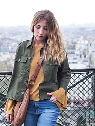 Diamond & Peonie - Mango Kaki Jacket, Mango Yellow Top, Maroco Artist Handmade Beige Bag - Top of Montmartre