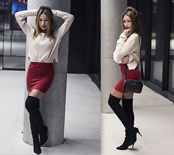 Porcelanna - Tally Weijl Sweater, Pull & Bear Bodycon Skirt, Fabiola Bag, Buffalo Overknees - Bodycon skirt & overknees