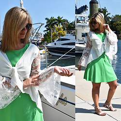 Jaclynn Brennan - New York & Co Green Dress, Karma For A Cure Lacey Bell Sleeve Top, Freida Rothman Serena Sunnies, Aldo Strappy Sandals - SET SAIL