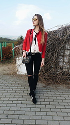 Madame Marcelline - Bershka Red Jacket, Hm Shoes, Zara Blouse, Stradivarius Bag, Gamiss Sunglasses - Sunday look