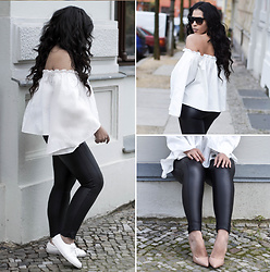 Chiara Culture With Coco - Free People Leather Leggings, Free People Off Shoulde White Top, John Varvatos Plain White Sneakers, 424 Fifth Nude Patent Heel, Celine Cl41026/S Shadow - Statement Sleeves & Leather Pants