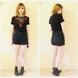 Rachel-Marie - Unbranded Tattoo Choker, Romwe Black Mesh V Neck Embroidered Blossom Applique T Shirt, Romwe Black High Waisted Denim Shorts, Unbranded Black Lace Up Martin Boots - Dark Blossoming