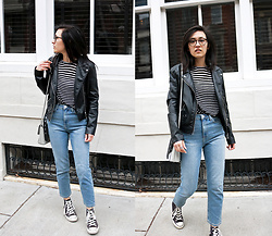 Sheila - H&M Faux Leather Jacket, Bdg Mom Jeans - Leather Jacket