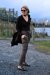 Anne Dofelmier - Marc Fisher Black Slides, Khaki Pants, Long Vest, Black Body Suit - Casual Friday