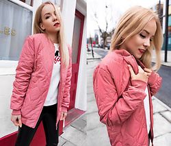 Silver Girl - Adidas Pink Jacket, Tommy Hilfiger White Sweater, Asos Leather Pants - PINK ADIDAS, LEATHER & TOMMY