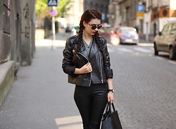 Jelena - Mango Leather Jacket, Rosegal Leather Pants, Diane Von Furstenberg Retro Sunglasses - Another one with braids