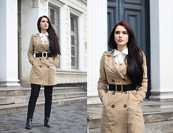 Justyna Lis - New Look Trench Coat, Asos White Shirt, Zara Leather Boots, Zara Skinny Pants - The trench coat time