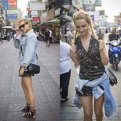 Adriana M. - Levi's® Denim Jacket, Stradivarius Black Flower Dress, Buffalo Shoes Black Flat Sandals - Visiting China Town in Bangkok