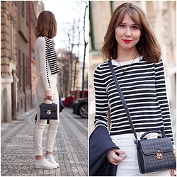 Anastasiia G - French Connection Uk Top, H&M Jeans - STRIPES & STUDS