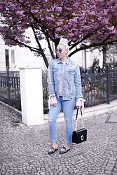 Vanessa Kandzia - Topshop Denim Jacket, River Island Slippers - EMBELLISHED DENIM JACKET
