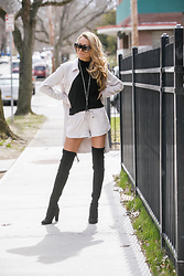 Lauren Recchia - Milly Turtleneck, David Lerner Dress, David Lerner Shorts, Stuart Weitzman Boots - A Suede Story