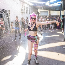 Tessla Venus - Dr. Martens Silver Docs, Lux Muse Sequin Shorts, Black Bra Top, Subverse Industries Utility Belt - Party All the Time
