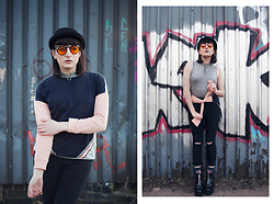Amy Souter - Snoopers Paradise Tinted Cat Eye Sunglasses, Primark Bowler Hat, Tu Clothing Geometric Sweater, Primark Grey Bodysuit, Huf Socks, River Island Zipper Boots, Dorothy Perkins Ripped Jeans - GEOMETRIC