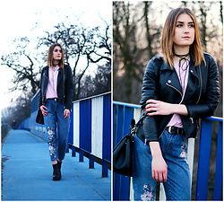 PASHIOON - New Look Mom Jeans, Cubus Lether Jacket, Zara Leather Bag, H&M Black Boots - Spring is finally here!