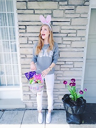Sydney Hoffman - Gap Grey Sweater, Zara White Fringe Jeans, Tommy Hilfiger White Sneakers - Easter Bunny