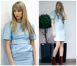 Sofija Surdilovic - Metisu Blue Dress, Zara Red Boots - Heavenly blue