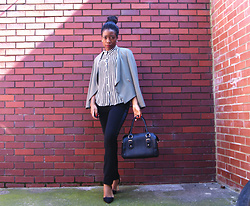 Kudz Ai - Hm Striped, New Look Black N White Court Shoes, Dorothy Perkins Hand Bag - Back to Work