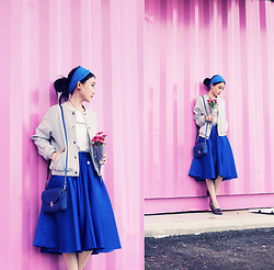 Jasmine L - Pazzo Pastel Grey Bomber Jacket, Belle & Perle Electric Blue Midi Skirt, Cambridge Satchel Pushlock Bag - BLUE WAVE