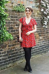 Daisy A - Topshop Red Frilly Polka Dot Tea Dress, Zara Black Applique Badge Cross Body Bag, Asos Black Leather And Suede Cap Block Heel Shoes, Anna Lou Of London Daisy Name Necklace - The Little Red... Topshop Dress