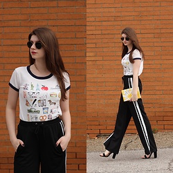 Tracie Marie - J. Crew Nyc Graphic Tee, Missguided Track Pants - Sleek Side Stripe Pants