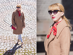 Julia F. - Asos Cat Eyes Sunglasses, H&M Earrings, Asos Coat, Mohito Bag, Mango Jeans, Stradivarius Shoes - Cold sunny day