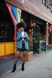 Nailah Ali - Steve Madden Edit Boots, Zara Black Faux Leather Mini, American Apparel Tee - Very NYC