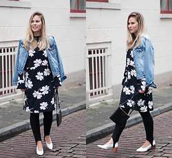 Jules V - Vila Denim Jacket, Vila Floral Dress, Cuyana Bag, Zara Heels - Bring on the  blooms