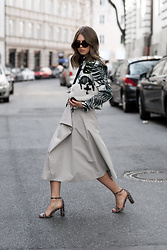 Swantje Sömmer | OffwhiteSwan - Maxmara Jacket, All Items On My Blog - Max Mara Jacket, Midi Skirt & Sandals
