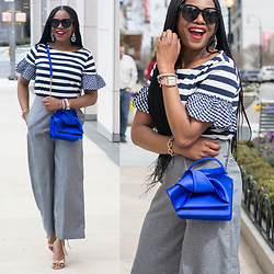 Monica Awe-Etuk - Gingham, And Stripe Top, Blue Bag, Watch - AWED BY MONICA: GINGHAM, STRIPES, AND GREY
